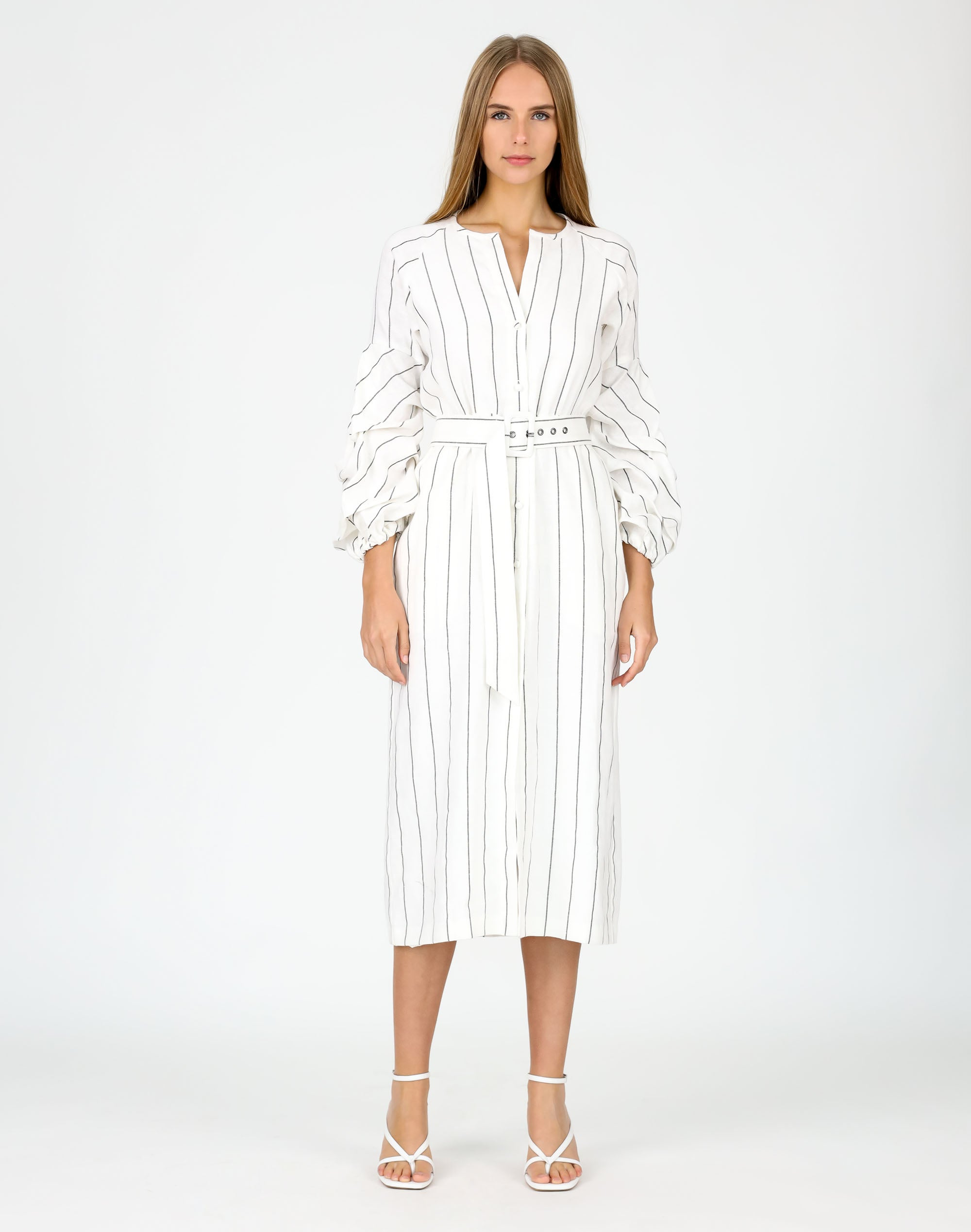 Belted Tiered Sleeve Dress