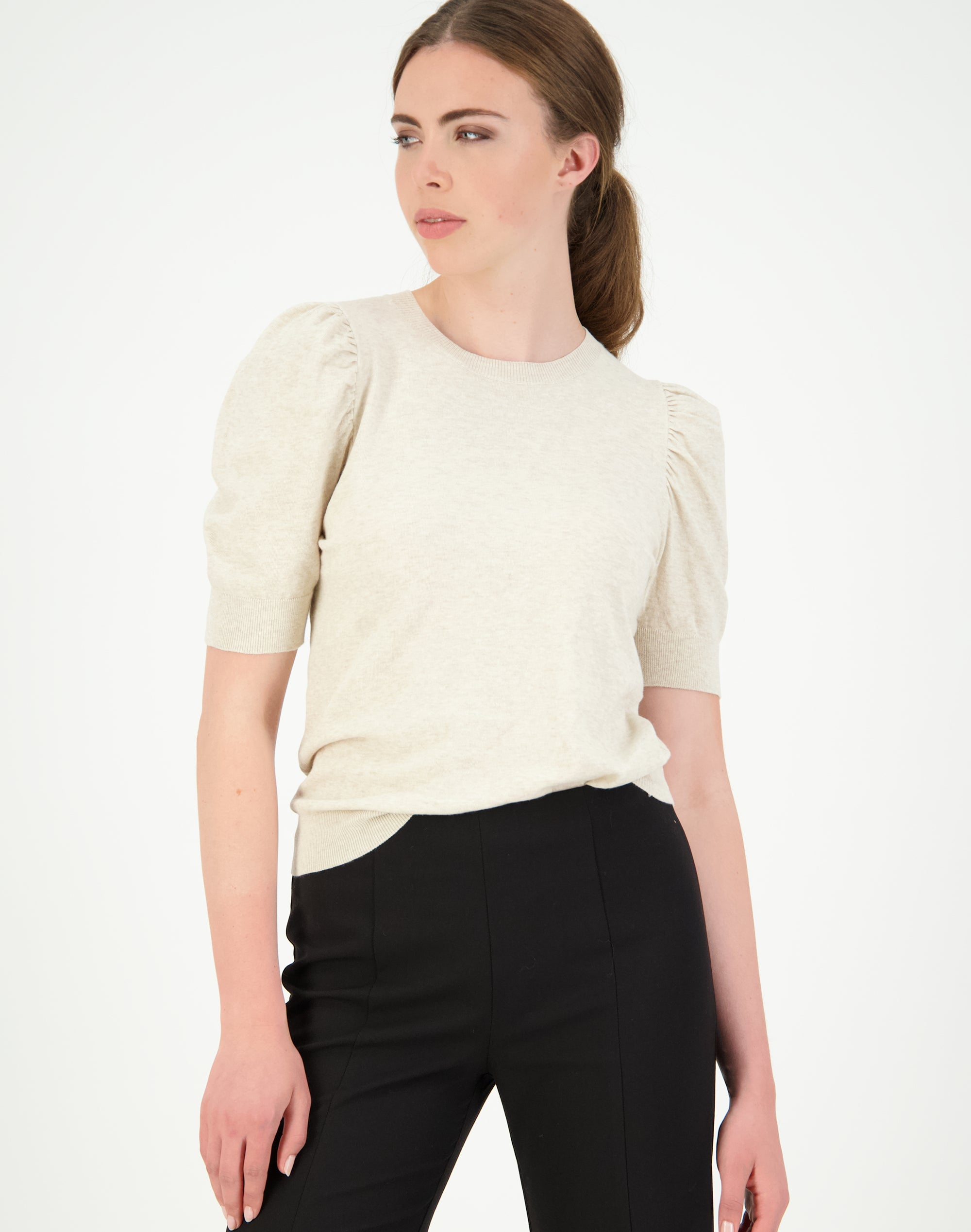 Cotton Rouched Sleeve Sweater