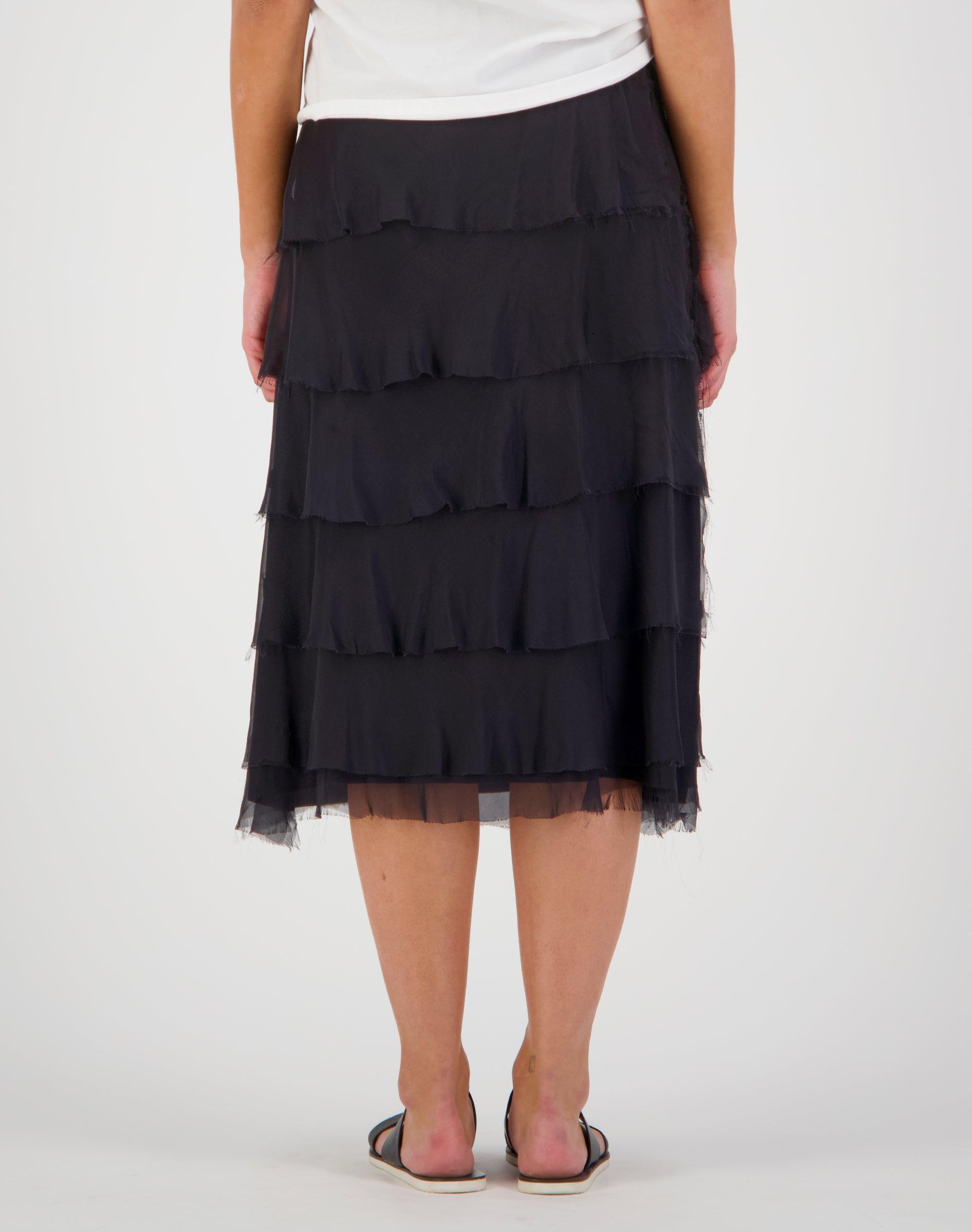 Frill Layer Silk Skirt