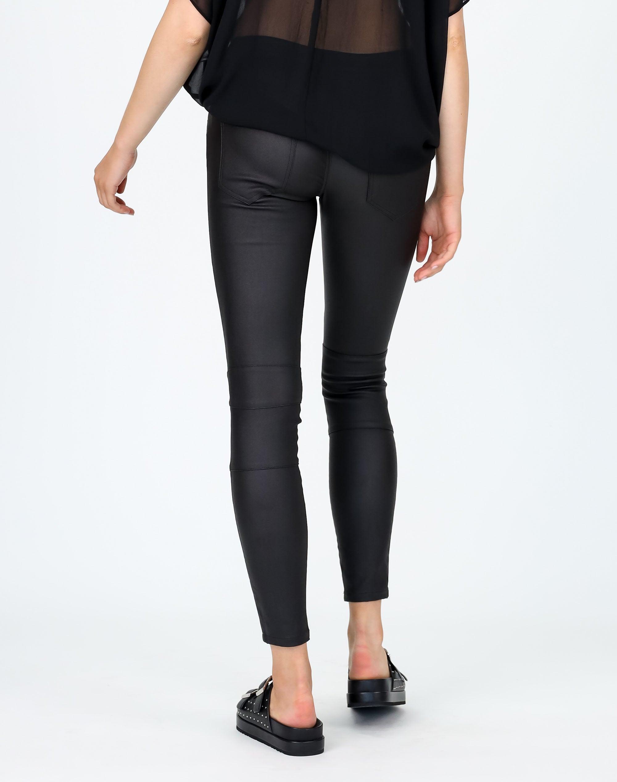 Mid Rise Zip Pocket Coated Pant