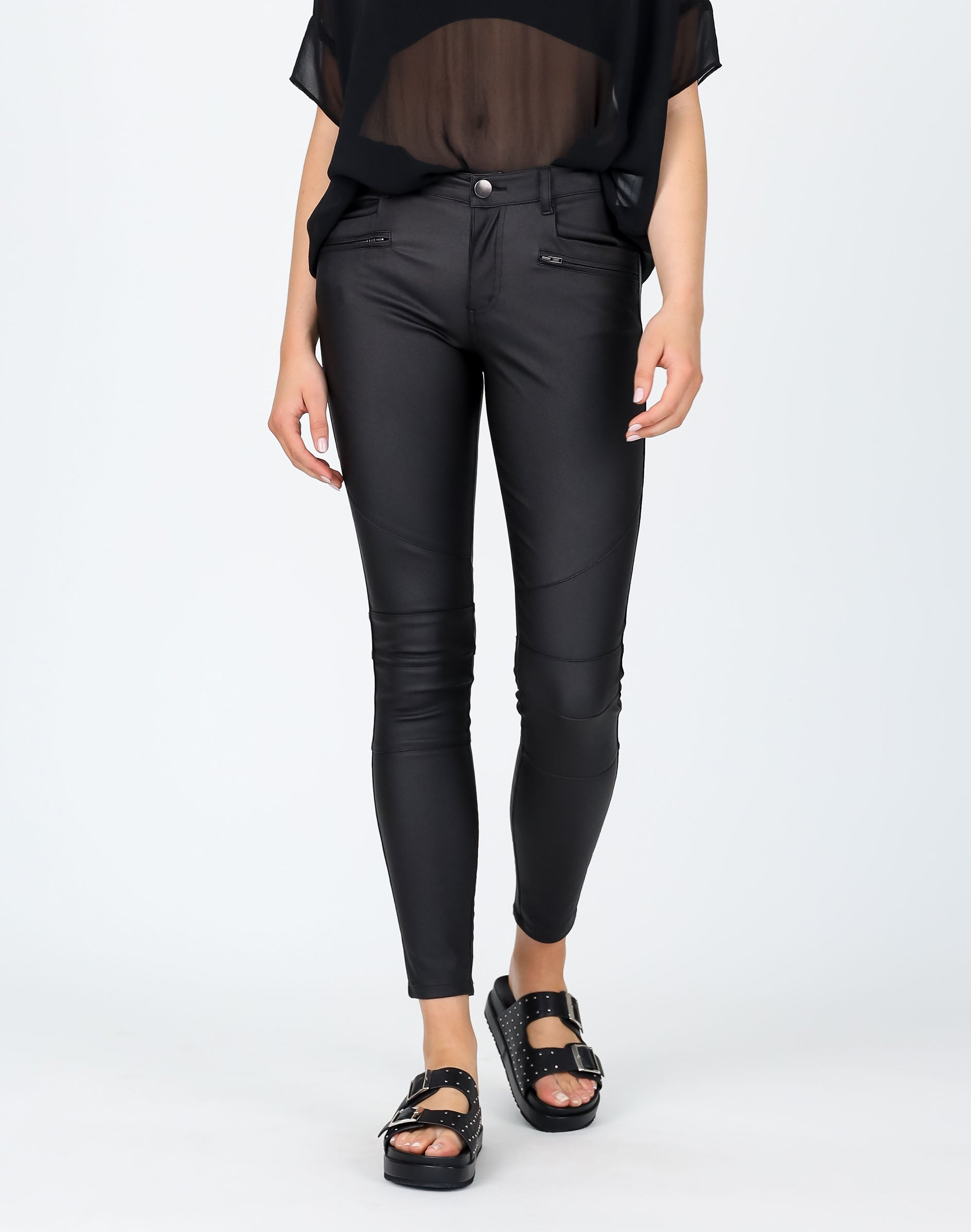 Mid Rise Zip Pocket Coated Pant