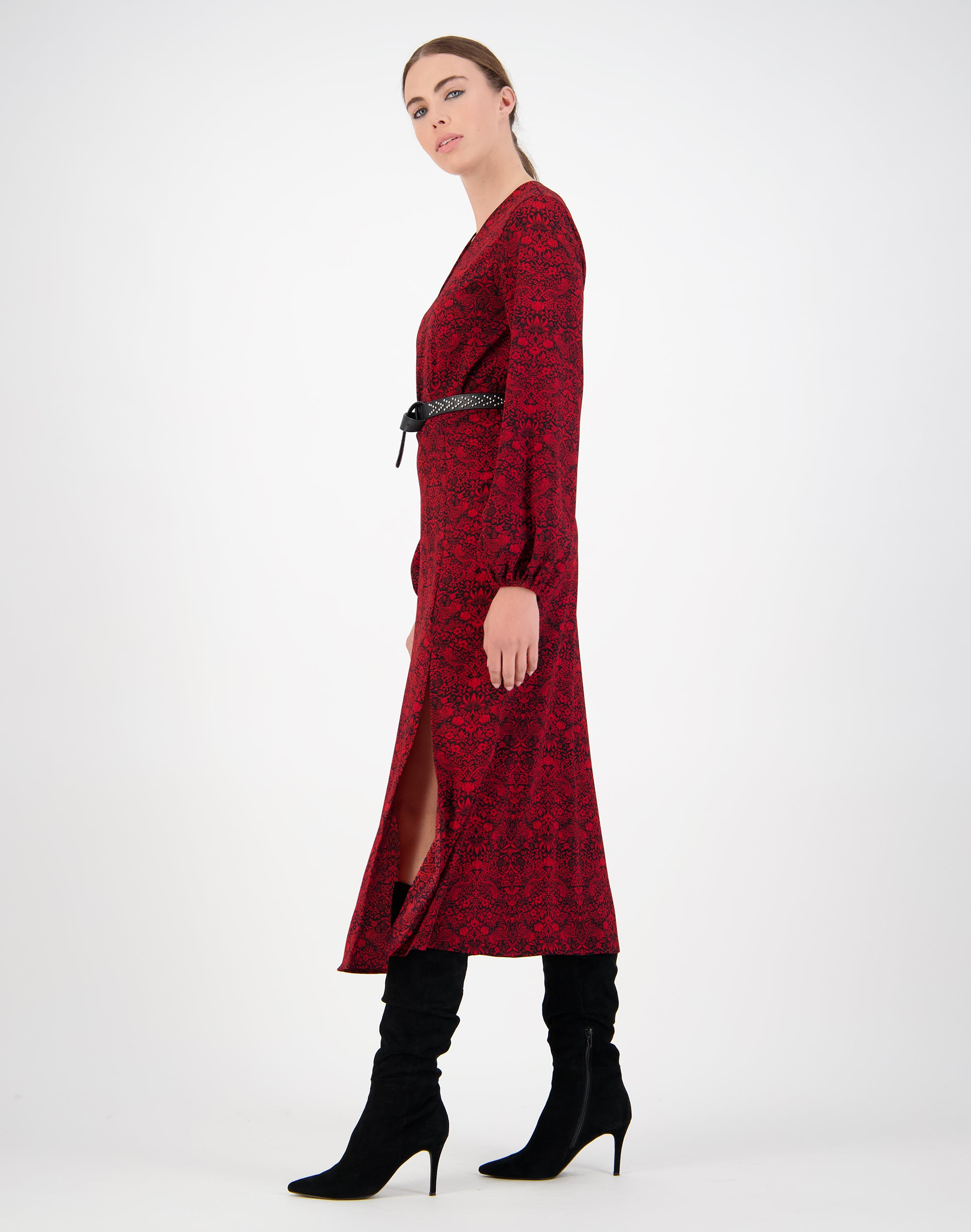 Red Bird Print Dress