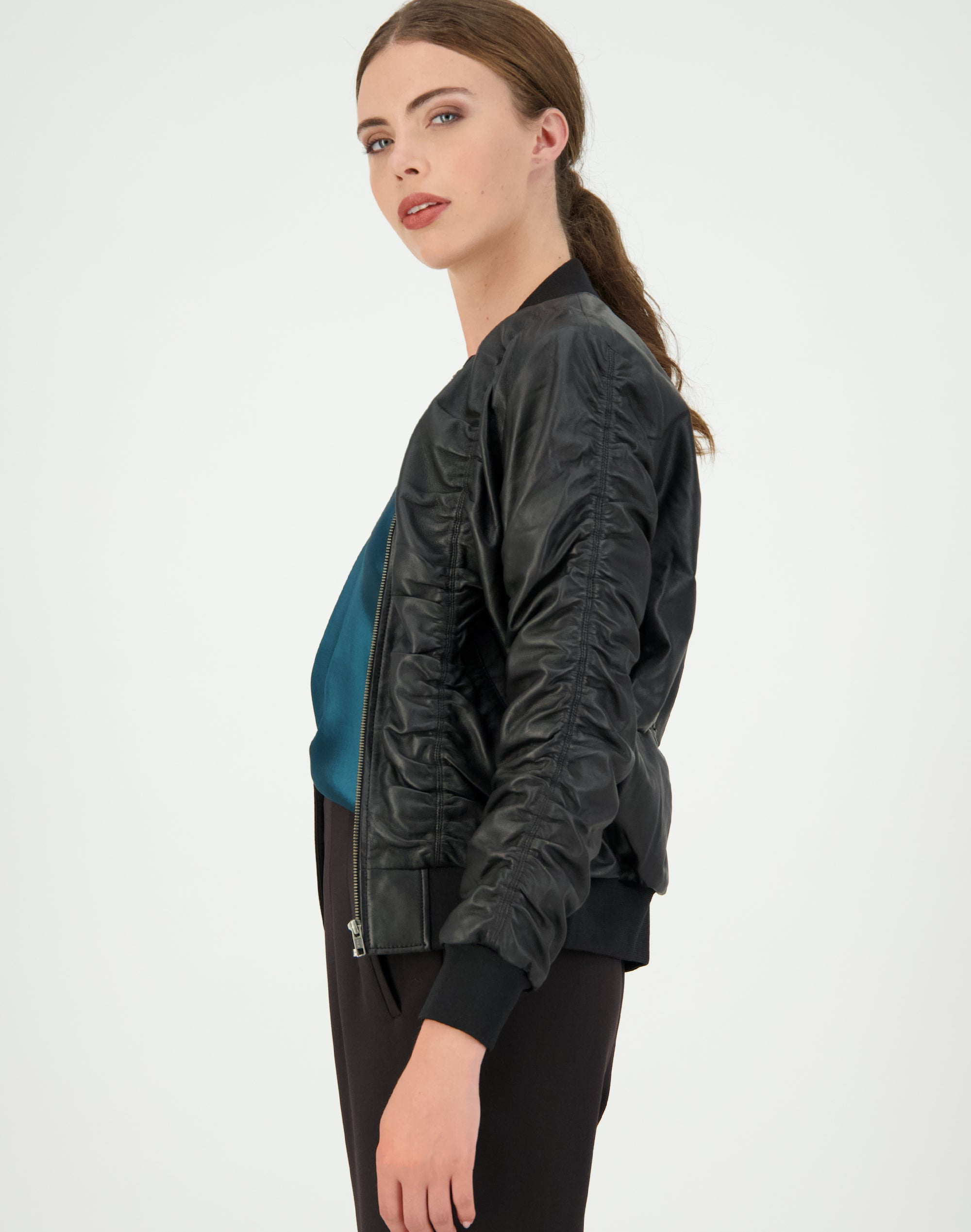 Rouched Leather Jacket