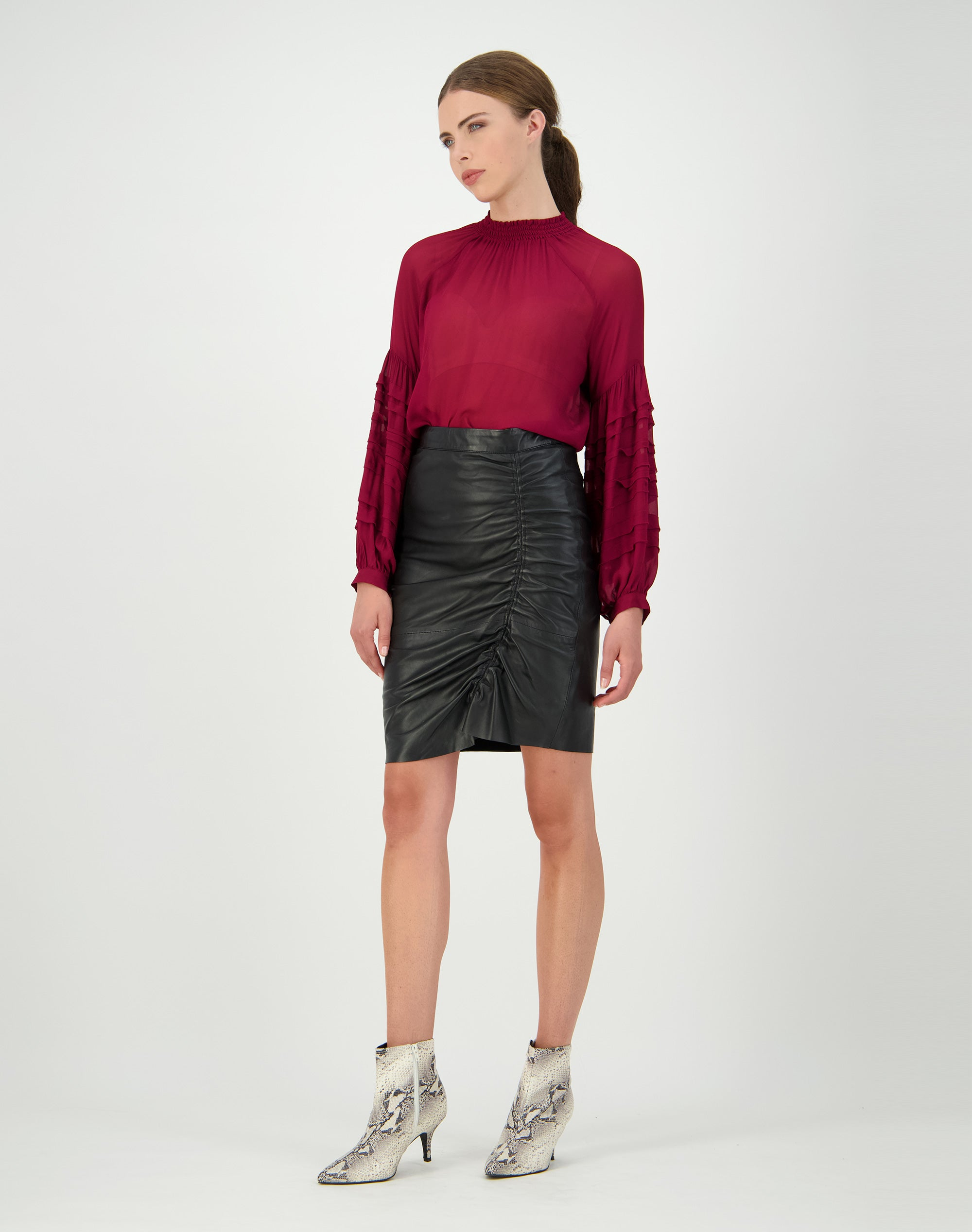 Ruched Leather Skirt