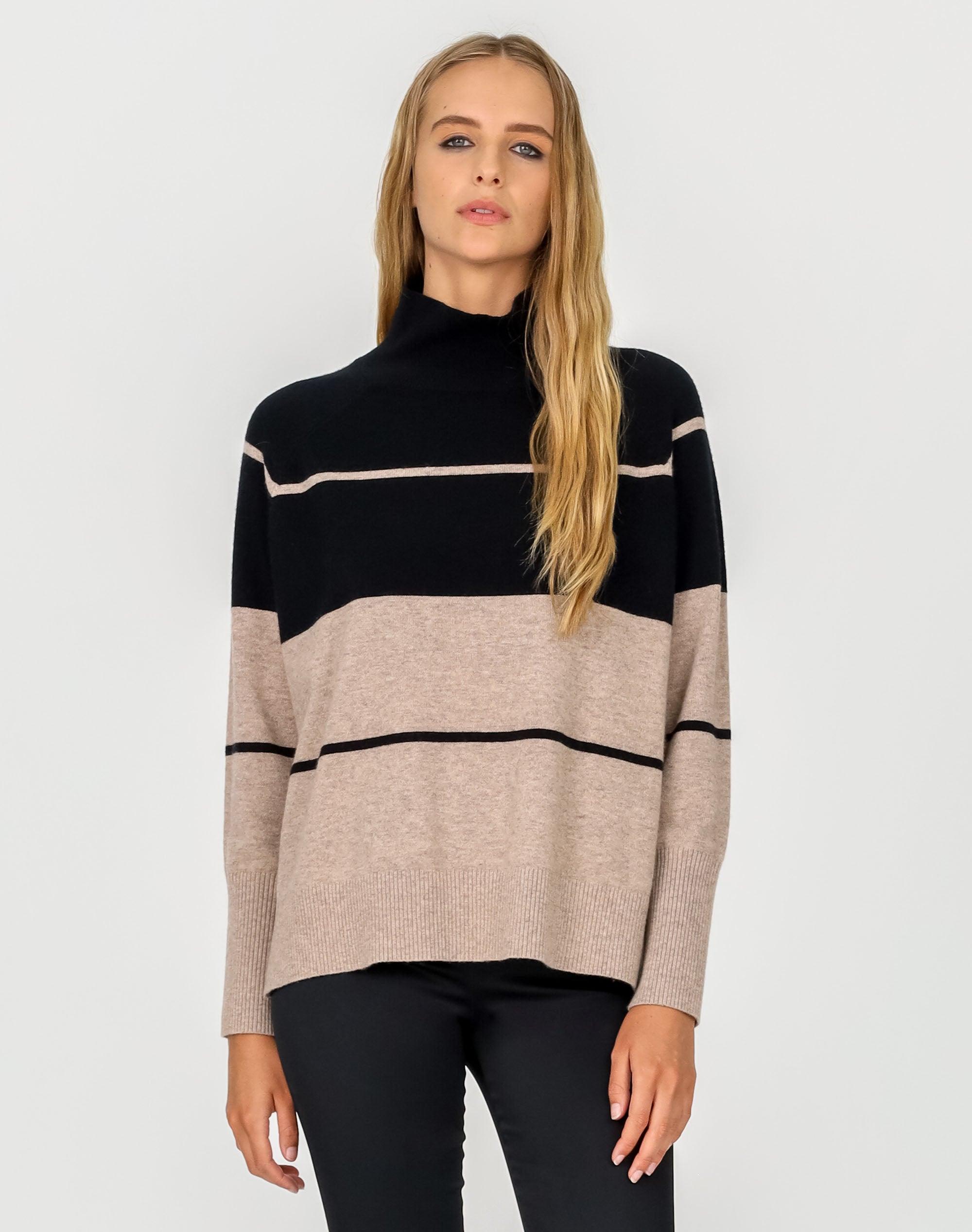 Stripe High Neck Sweater