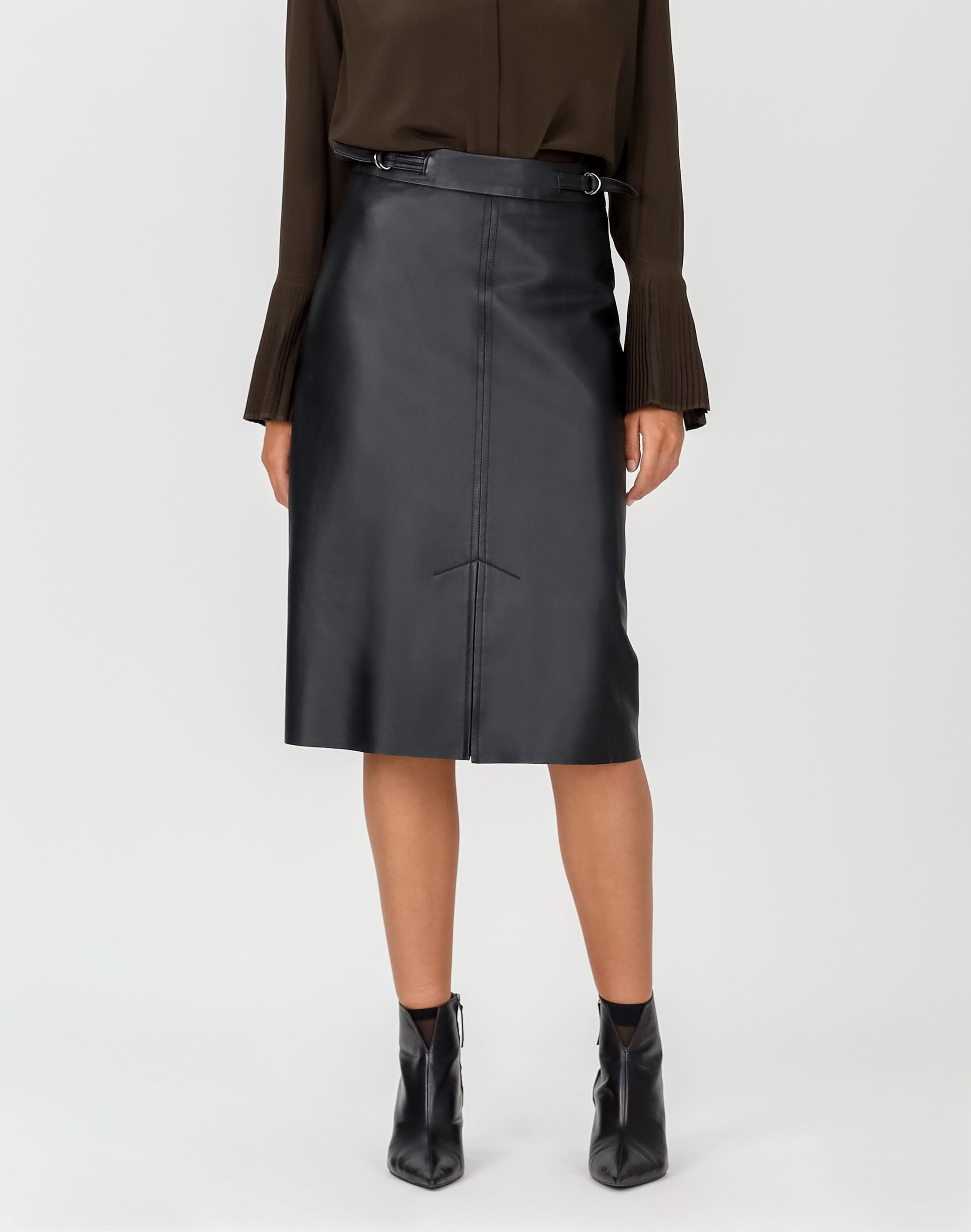 Tab Detail Leather Skirt