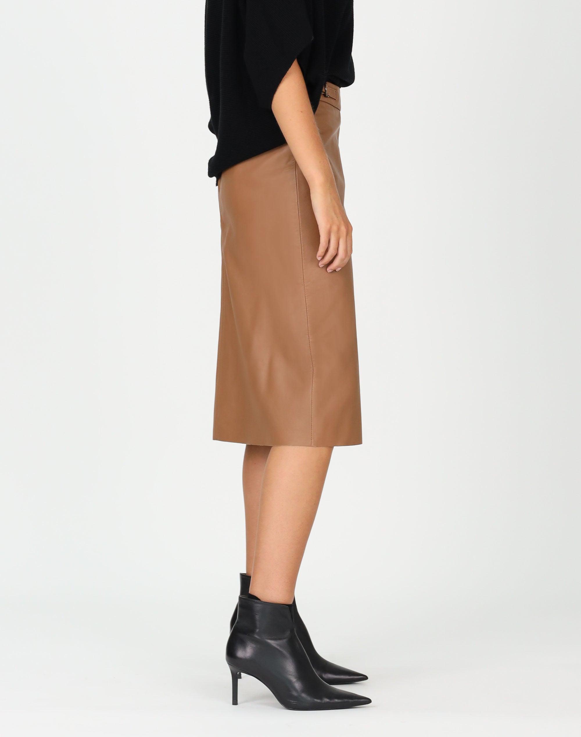 Tab Detail Leather Skirt