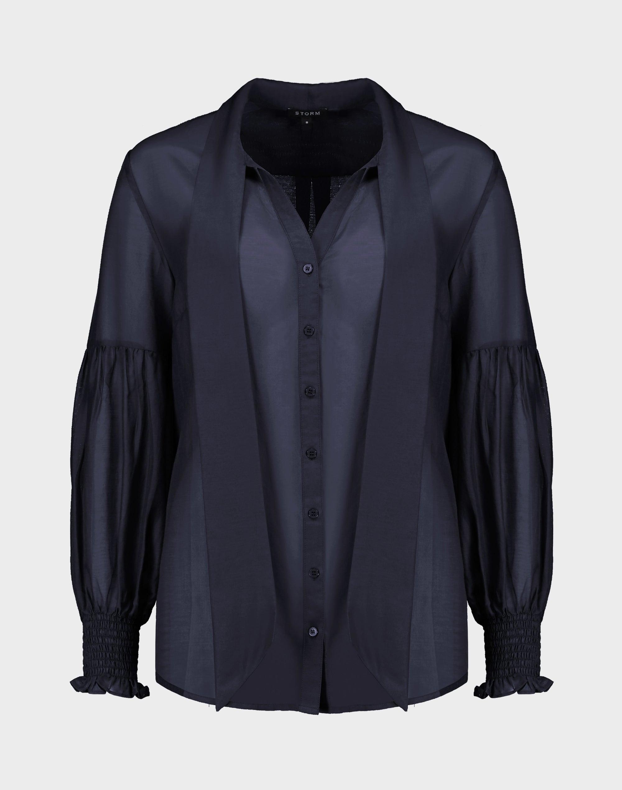 Tie Neck Silk Blend Shirt